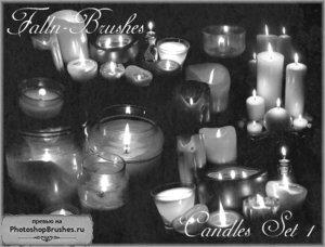 Кисти свечи в подсвечниках