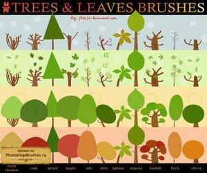 Кисти мультяшные  деревья и листья