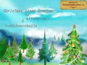 Кисти нарисованные рождественские елки